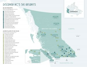 Map for all the ski resorts in British Columbia Canada